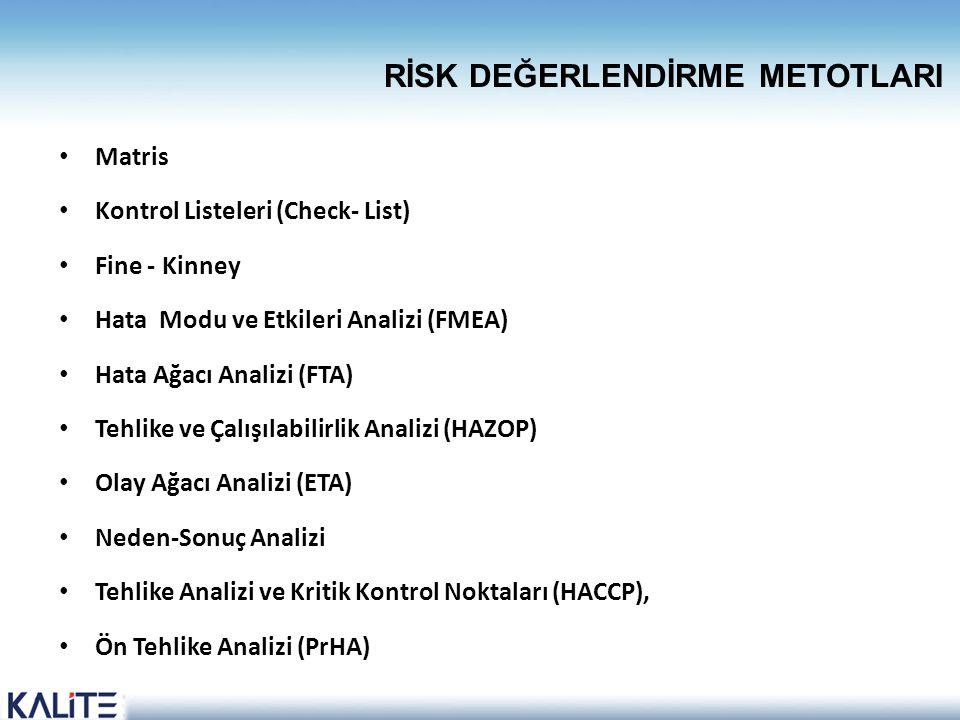 • Matris • Kontrol Listeleri (Check- List) • Fine - Kinney • Hata Modu ve Etkileri Analizi (FMEA) • Hata Ağacı Analizi (FTA) • Tehlike ve Çalışılabili