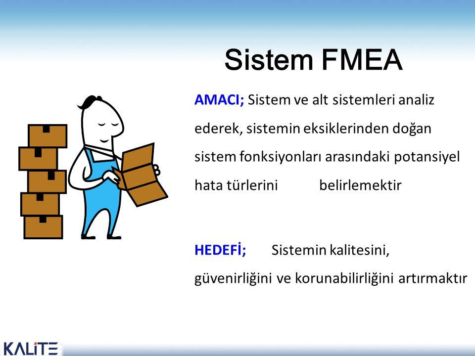 Sistem FMEA AMACI; Sistem ve alt sistemleri analiz ederek, sistemin eksiklerinden doğan sistem fonksiyonları arasındaki potansiyel hata türlerini beli