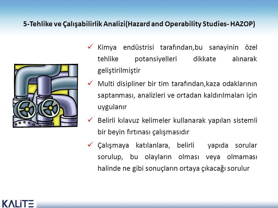 5-Tehlike ve Çalışabilirlik Analizi(Hazard and Operability Studies- HAZOP)  Kimya endüstrisi tarafından,bu sanayinin özel tehlike potansiyelleri dikk