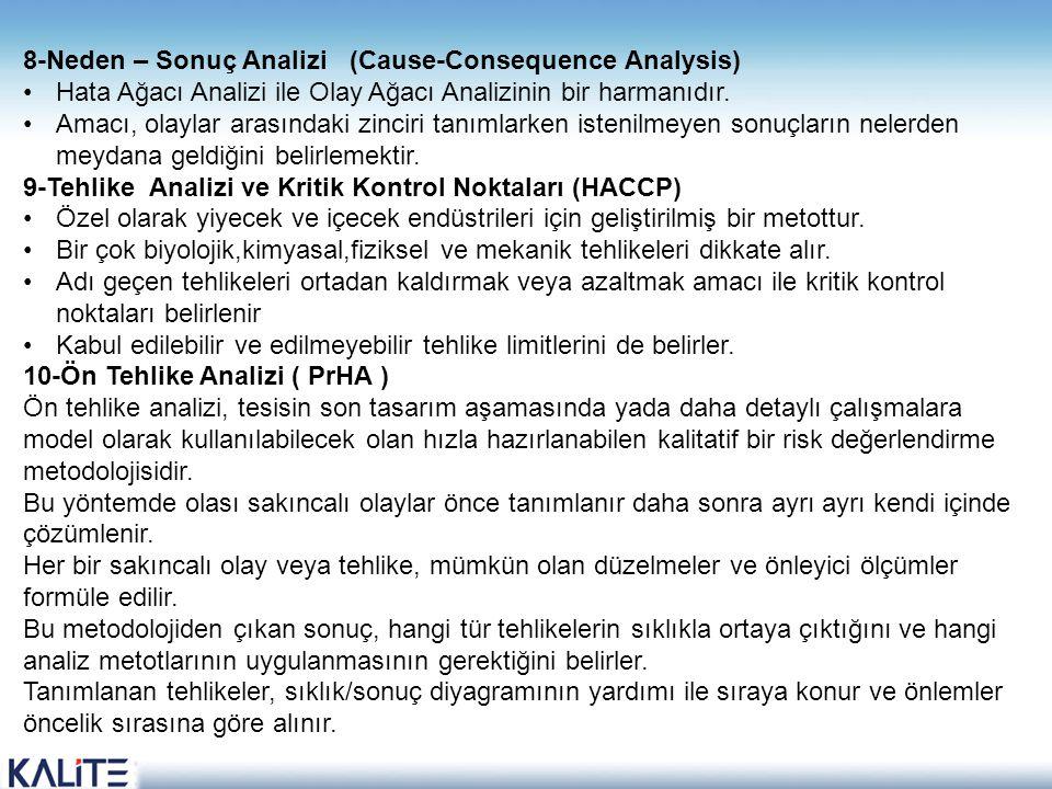 8-Neden – Sonuç Analizi (Cause-Consequence Analysis) •Hata Ağacı Analizi ile Olay Ağacı Analizinin bir harmanıdır. •Amacı, olaylar arasındaki zinciri