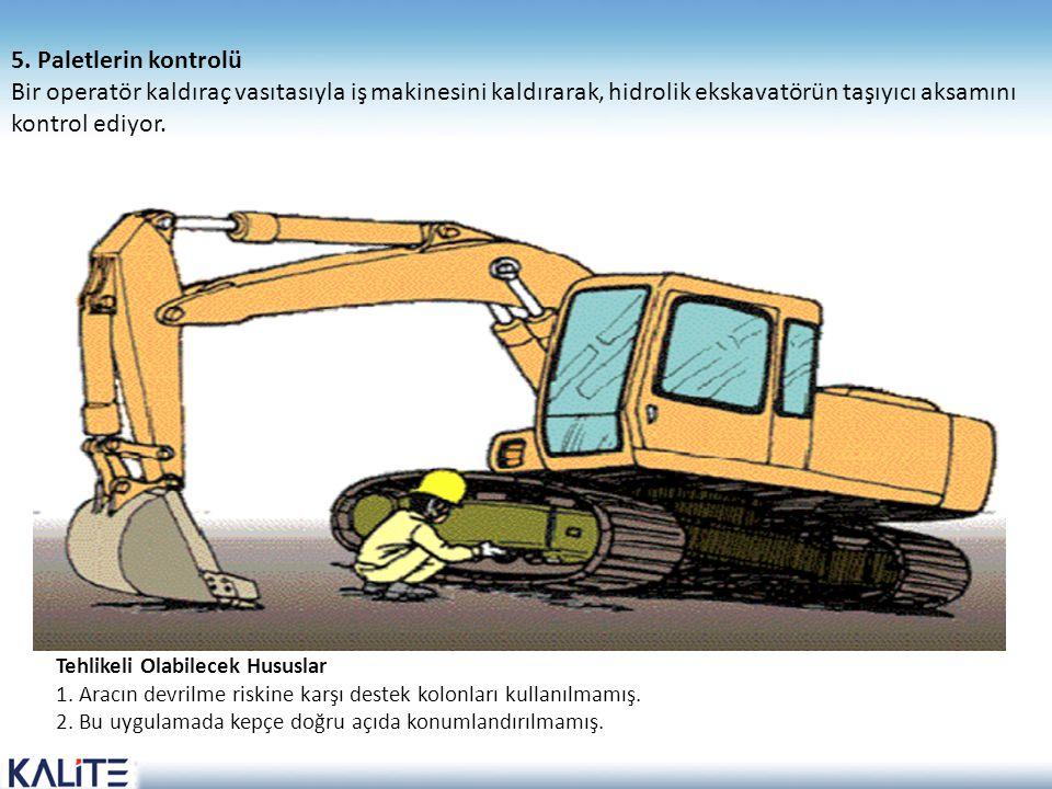 Tehlikeli Olabilecek Hususlar 1. Aracın devrilme riskine karşı destek kolonları kullanılmamış. 2. Bu uygulamada kepçe doğru açıda konumlandırılmamış.