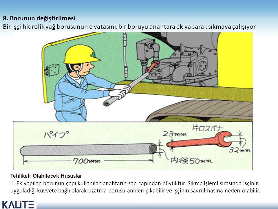 Tehlikeli Olabilecek Hususlar 1. Ek yapılan borunun çapı kullanılan anahtarın sap çapından büyüktür. Sıkma işlemi sırasında işçinin uyguladığı kuvvete