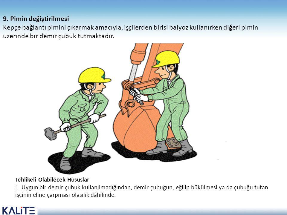 Tehlikeli Olabilecek Hususlar 1. Uygun bir demir çubuk kullanılmadığından, demir çubuğun, eğilip bükülmesi ya da çubuğu tutan işçinin eline çarpması o