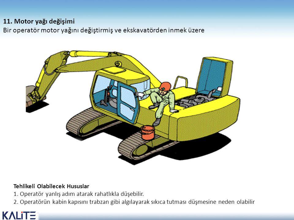 Tehlikeli Olabilecek Hususlar 1. Operatör yanlış adım atarak rahatlıkla düşebilir. 2. Operatörün kabin kapısını trabzan gibi algılayarak sıkıca tutmas