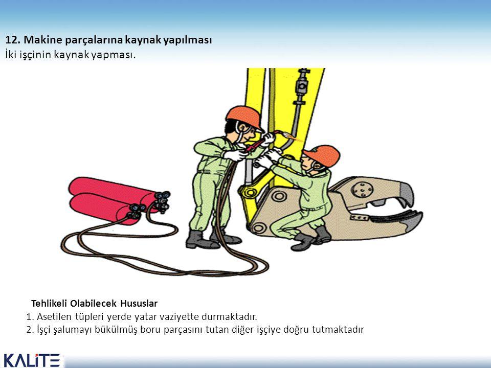 Tehlikeli Olabilecek Hususlar 1. Asetilen tüpleri yerde yatar vaziyette durmaktadır. 2. İşçi şalumayı bükülmüş boru parçasını tutan diğer işçiye doğru