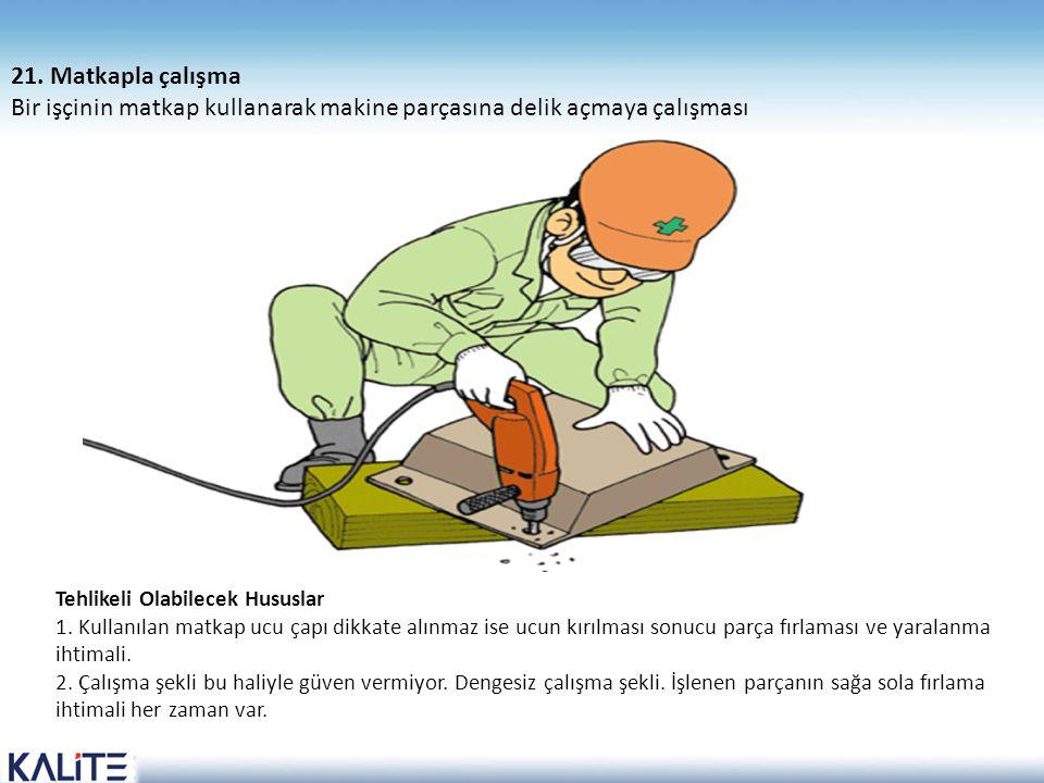 Tehlikeli Olabilecek Hususlar 1. Kullanılan matkap ucu çapı dikkate alınmaz ise ucun kırılması sonucu parça fırlaması ve yaralanma ihtimali. 2. Çalışm