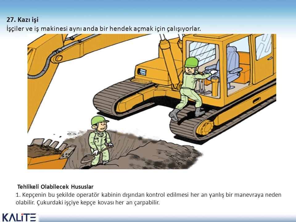 Tehlikeli Olabilecek Hususlar 1. Kepçenin bu şekilde operatör kabinin dışından kontrol edilmesi her an yanlış bir manevraya neden olabilir. Çukurdaki