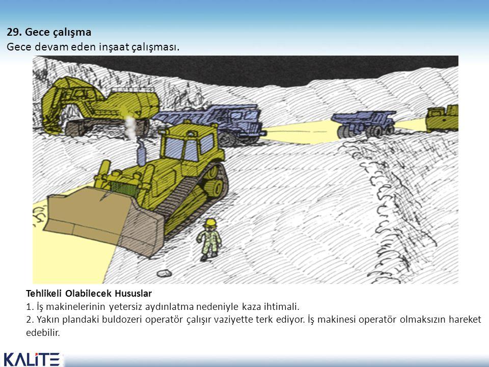 Tehlikeli Olabilecek Hususlar 1. İş makinelerinin yetersiz aydınlatma nedeniyle kaza ihtimali. 2. Yakın plandaki buldozeri operatör çalışır vaziyette