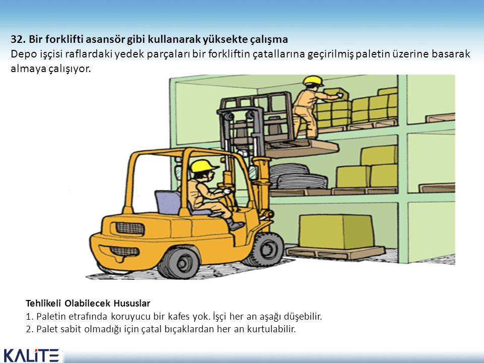 Tehlikeli Olabilecek Hususlar 1. Paletin etrafında koruyucu bir kafes yok. İşçi her an aşağı düşebilir. 2. Palet sabit olmadığı için çatal bıçaklardan