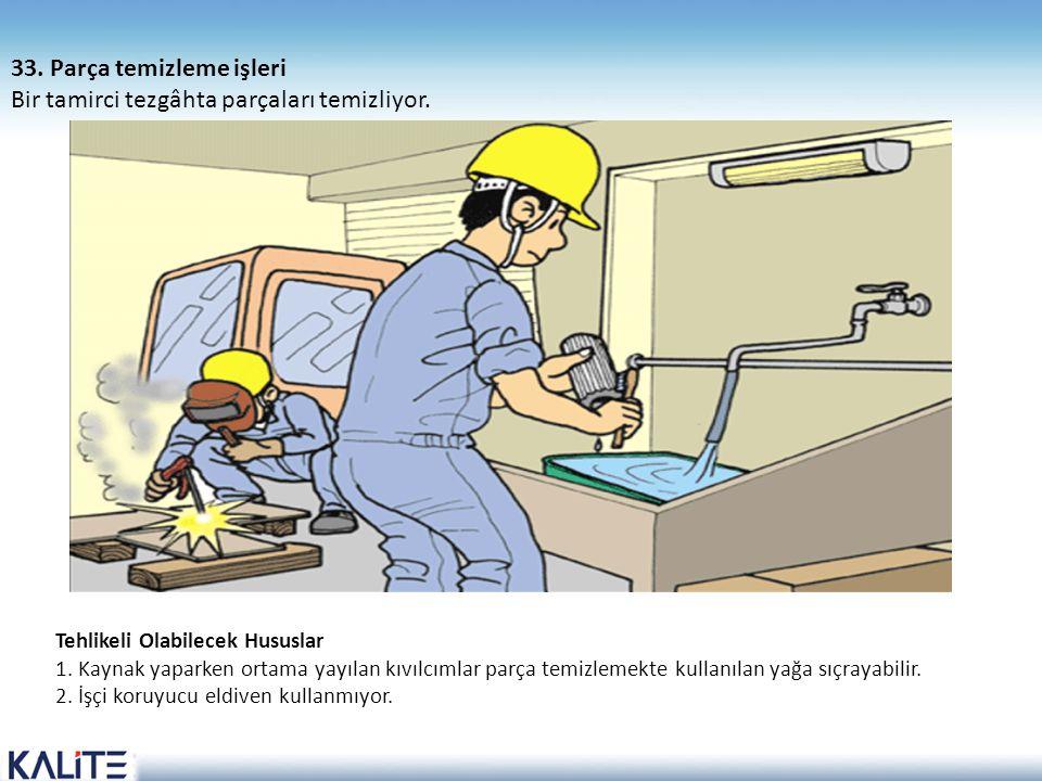 Tehlikeli Olabilecek Hususlar 1. Kaynak yaparken ortama yayılan kıvılcımlar parça temizlemekte kullanılan yağa sıçrayabilir. 2. İşçi koruyucu eldiven