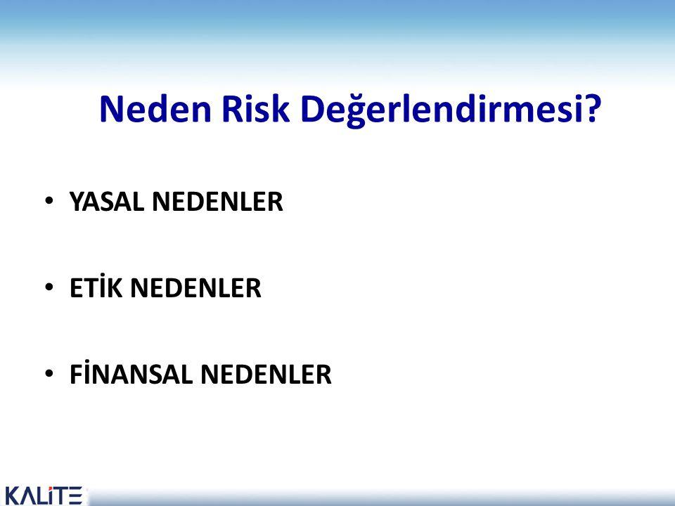 Neden Risk Değerlendirmesi? • YASAL NEDENLER • ETİK NEDENLER • FİNANSAL NEDENLER