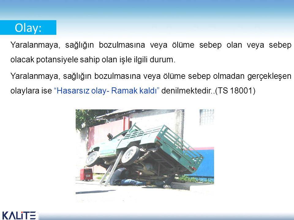 Kaza: Yaralanmaya, sağlığın bozulmasına veya ölüme sebep olan olaydır.(TS 18001)