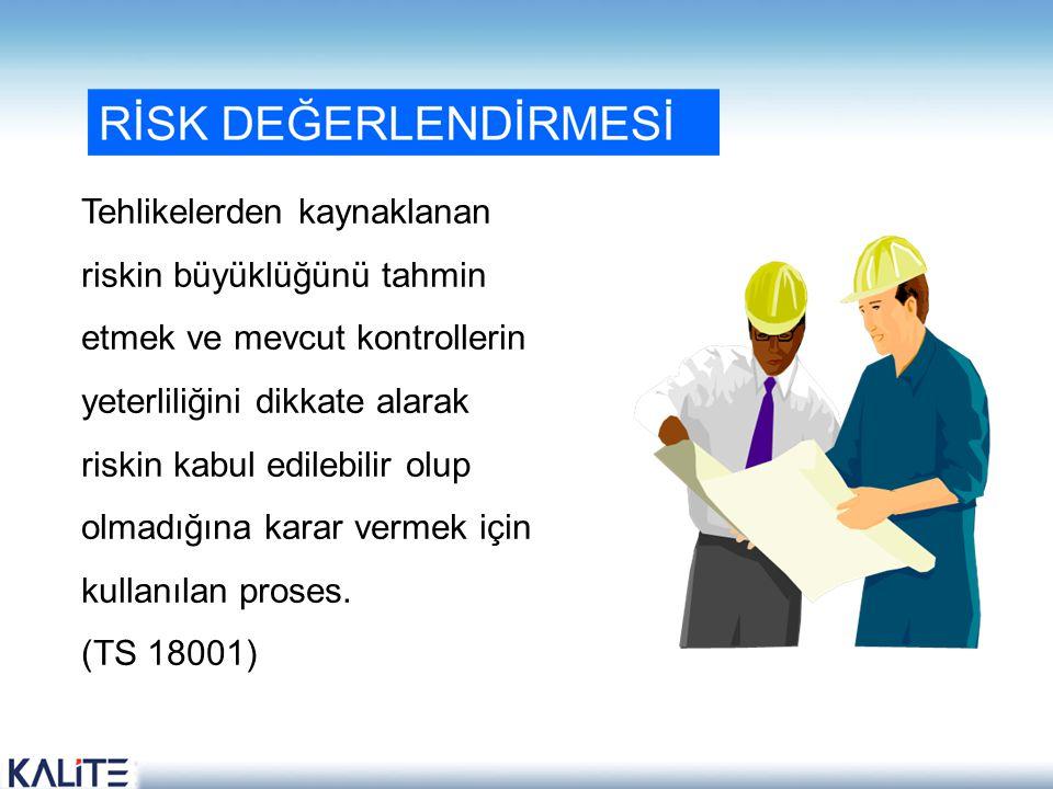 Tehlikelerden kaynaklanan riskin büyüklüğünü tahmin etmek ve mevcut kontrollerin yeterliliğini dikkate alarak riskin kabul edilebilir olup olmadığına