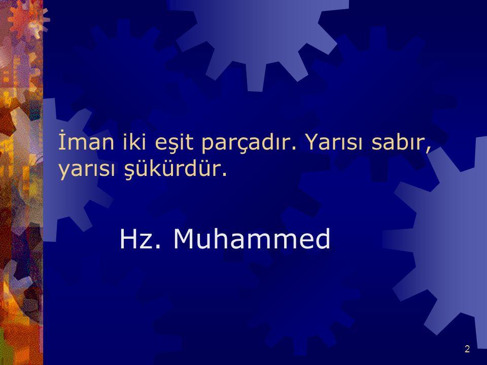 2 İman iki eşit parçadır. Yarısı sabır, yarısı şükürdür. Hz. Muhammed