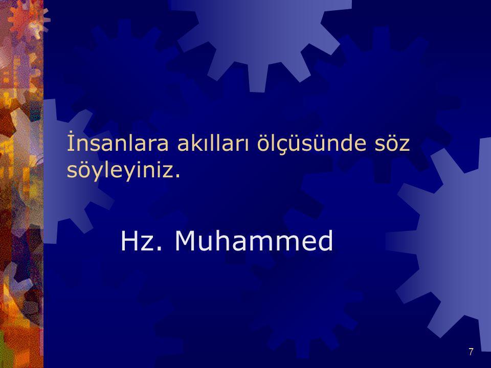 7 İnsanlara akılları ölçüsünde söz söyleyiniz. Hz. Muhammed