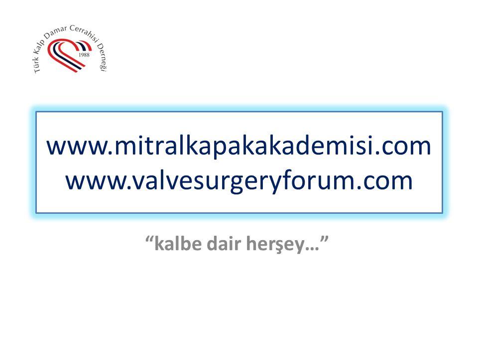 """www.mitralkapakakademisi.com www.valvesurgeryforum.com """"kalbe dair herşey…"""""""