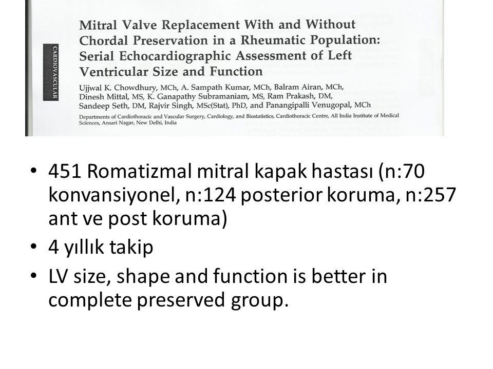 • 451 Romatizmal mitral kapak hastası (n:70 konvansiyonel, n:124 posterior koruma, n:257 ant ve post koruma) • 4 yıllık takip • LV size, shape and fun