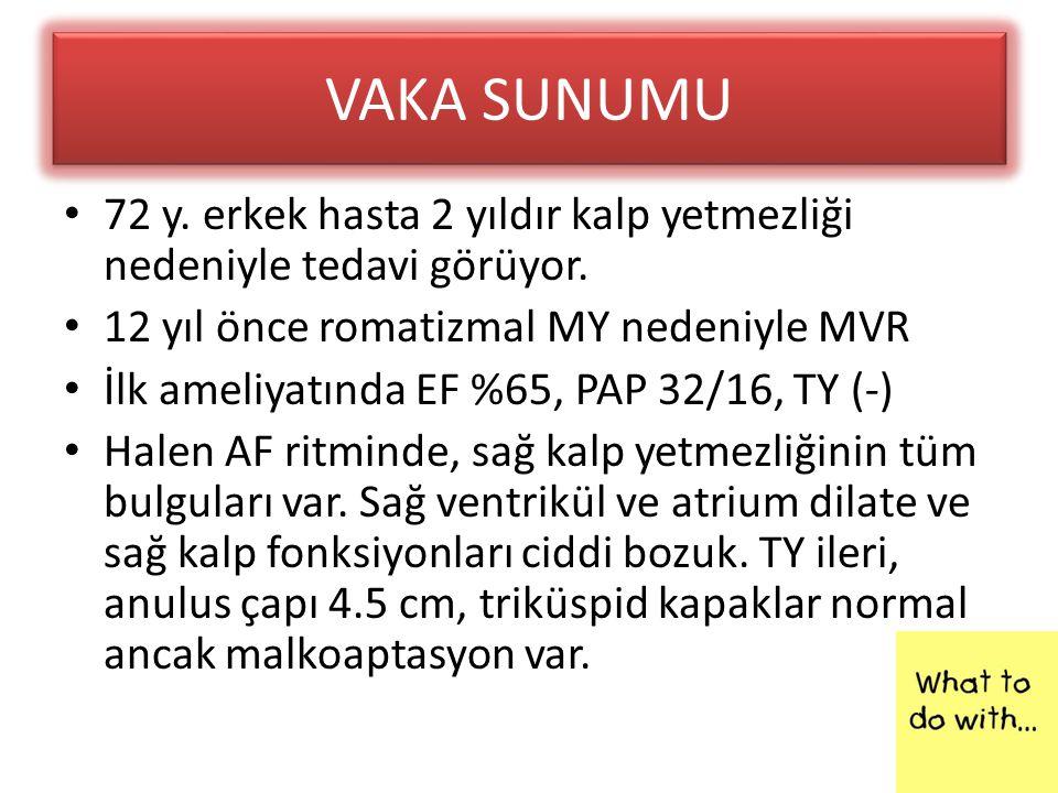VAKA SUNUMU • 72 y. erkek hasta 2 yıldır kalp yetmezliği nedeniyle tedavi görüyor. • 12 yıl önce romatizmal MY nedeniyle MVR • İlk ameliyatında EF %65