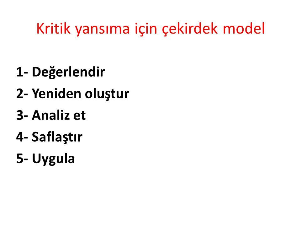 Kritik yansıma için çekirdek model 1- Değerlendir 2- Yeniden oluştur 3- Analiz et 4- Saflaştır 5- Uygula