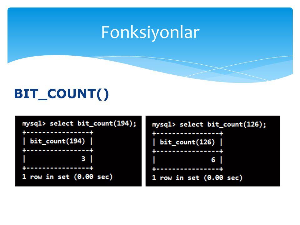 BIT_COUNT() Fonksiyonlar