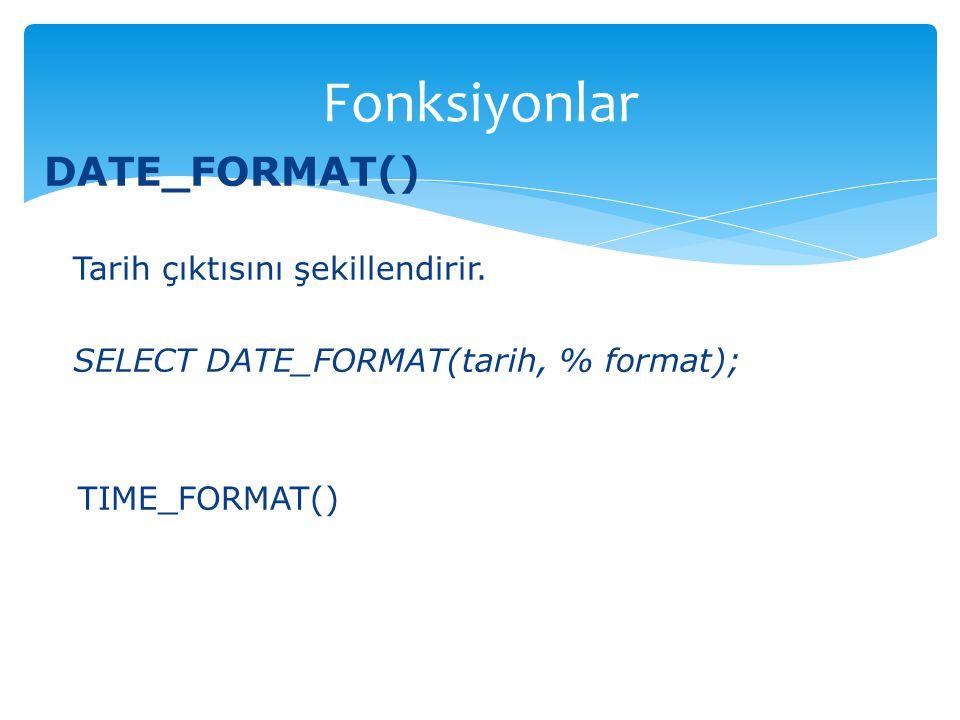 DATE_FORMAT() Tarih çıktısını şekillendirir. SELECT DATE_FORMAT(tarih, % format); TIME_FORMAT() Fonksiyonlar