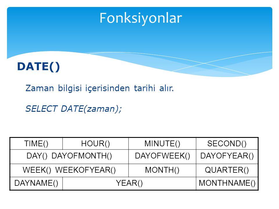 DATE() Zaman bilgisi içerisinden tarihi alır. SELECT DATE(zaman); TIME()HOUR()MINUTE()SECOND() DAY() DAYOFMONTH()DAYOFWEEK()DAYOFYEAR() WEEK() WEEKOFY