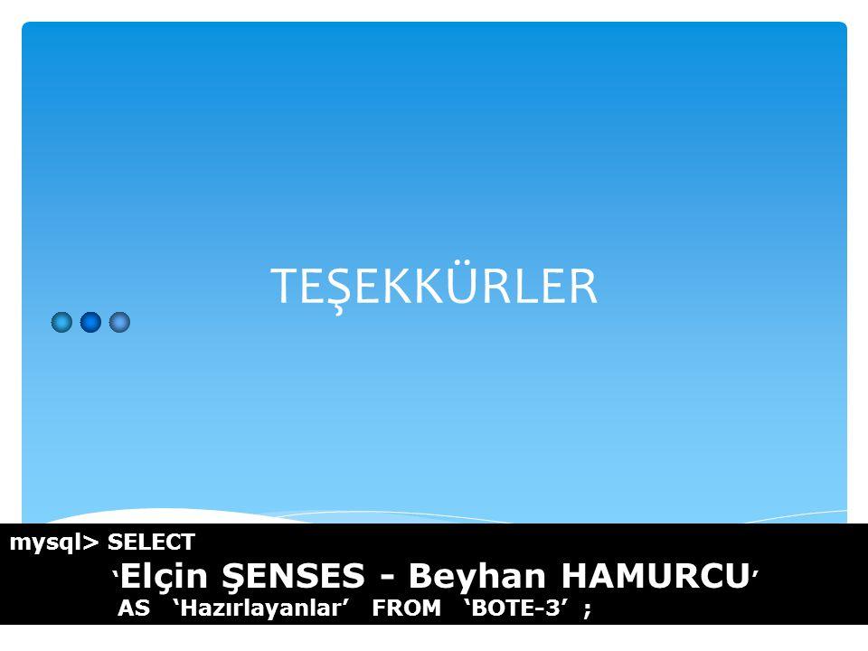 TEŞEKKÜRLER mysql> SELECT ' Elçin ŞENSES - Beyhan HAMURCU ' AS 'Hazırlayanlar' FROM 'BOTE-3' ;
