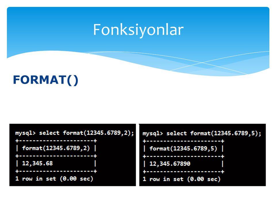 FORMAT() Fonksiyonlar