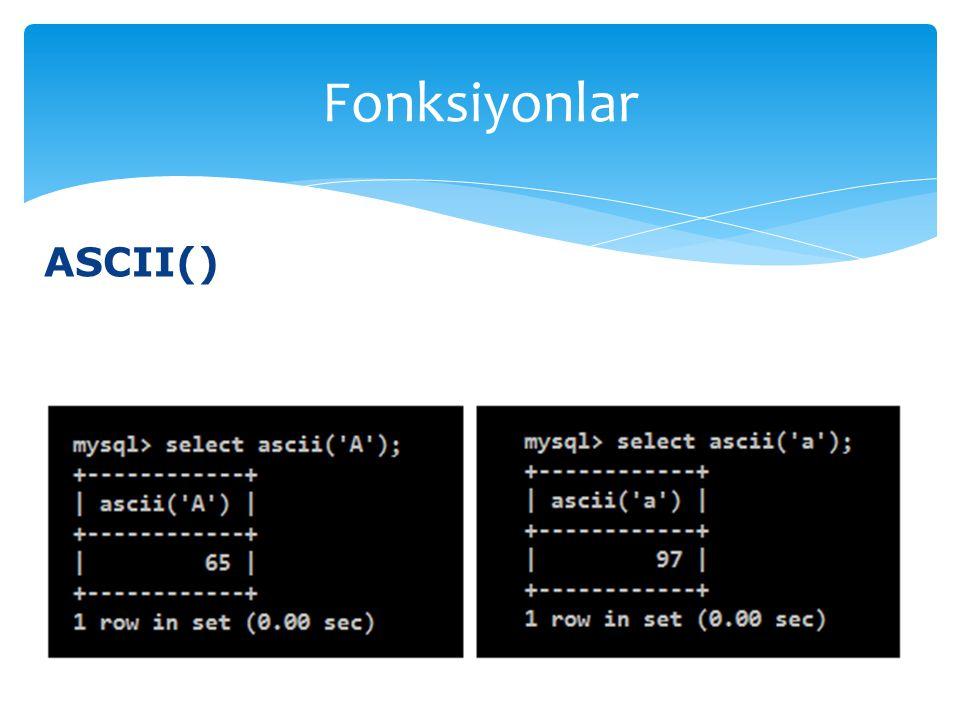 ASCII() Fonksiyonlar