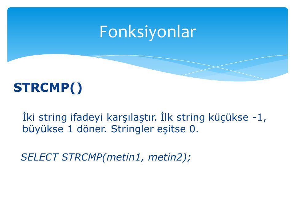 STRCMP() İki string ifadeyi karşılaştır. İlk string küçükse -1, büyükse 1 döner. Stringler eşitse 0. SELECT STRCMP(metin1, metin2); Fonksiyonlar