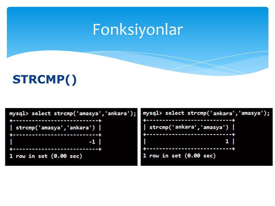 STRCMP() Fonksiyonlar