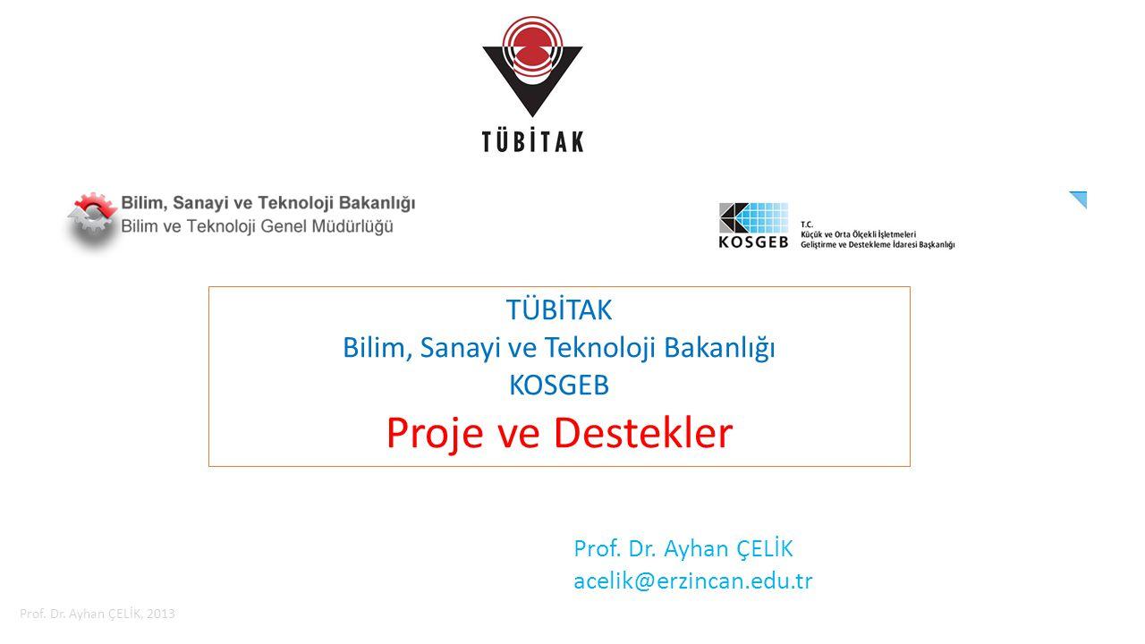 İçerik  TÜBİTAK Destekleri  Bilim, Sanayi ve Teknoloji Bakanlığı Destekleri  KOSGEB Desteleri Proje Destekleri, Prof.