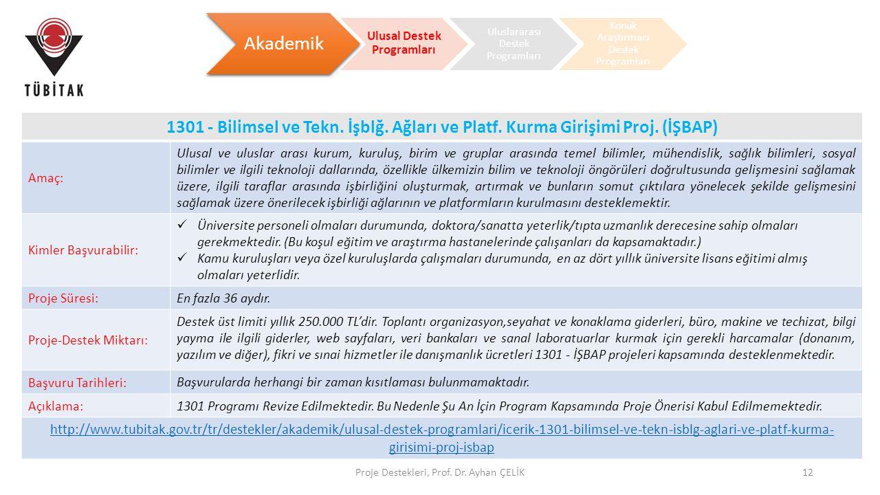 Proje Destekleri, Prof. Dr. Ayhan ÇELİK12 Akademik Ulusal Destek Programları Uluslararası Destek Programları Konuk Araştırmacı Destek Programları 1301