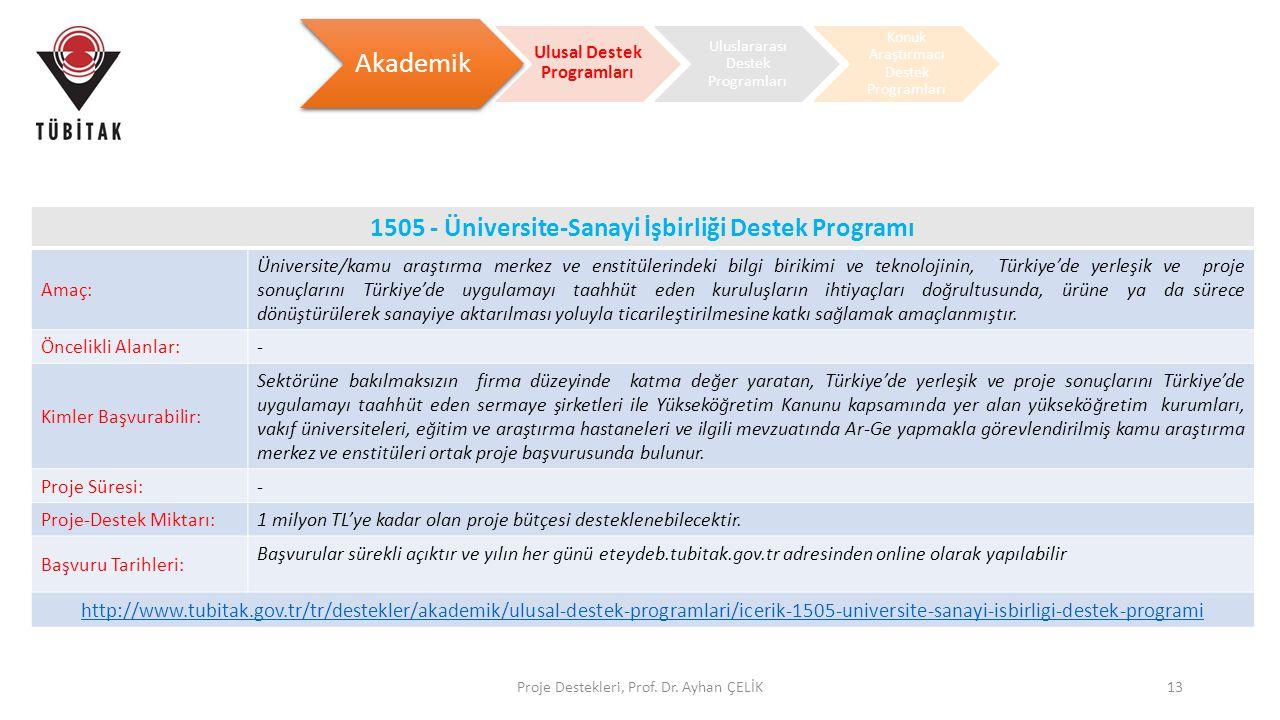 Proje Destekleri, Prof. Dr. Ayhan ÇELİK13 Akademik Ulusal Destek Programları Uluslararası Destek Programları Konuk Araştırmacı Destek Programları 1505