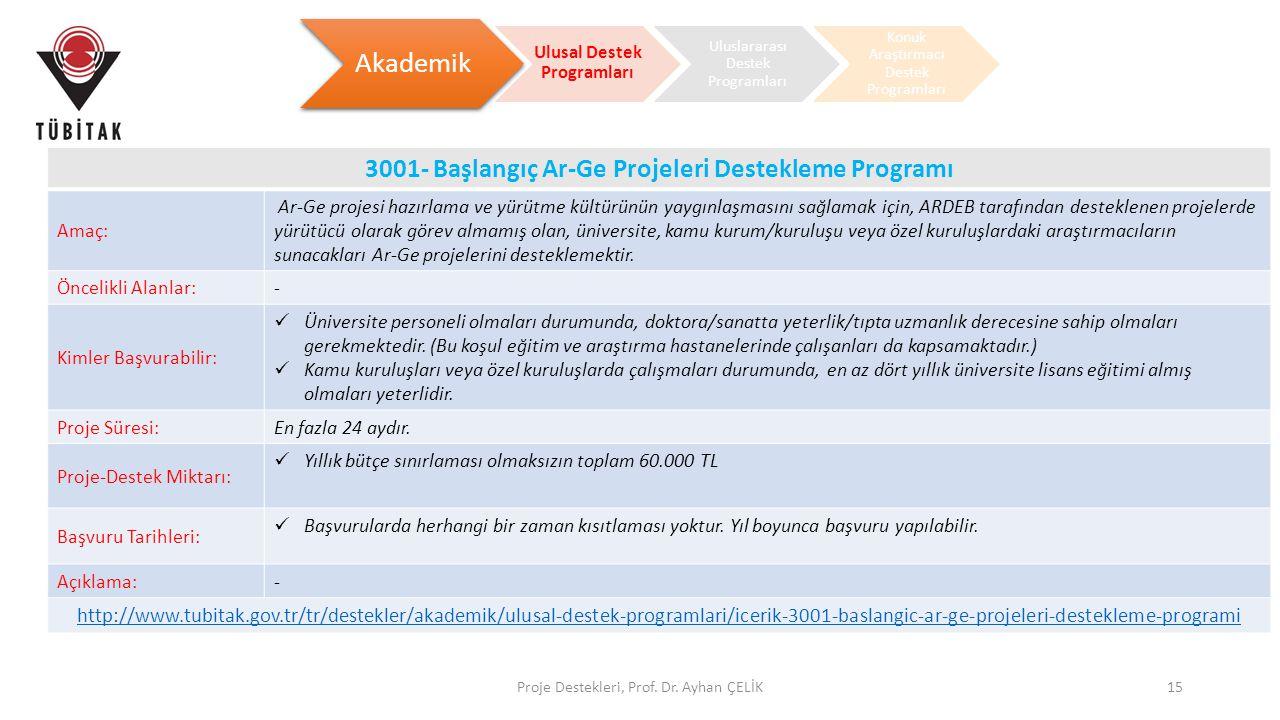 Proje Destekleri, Prof. Dr. Ayhan ÇELİK15 Akademik Ulusal Destek Programları Uluslararası Destek Programları Konuk Araştırmacı Destek Programları 3001
