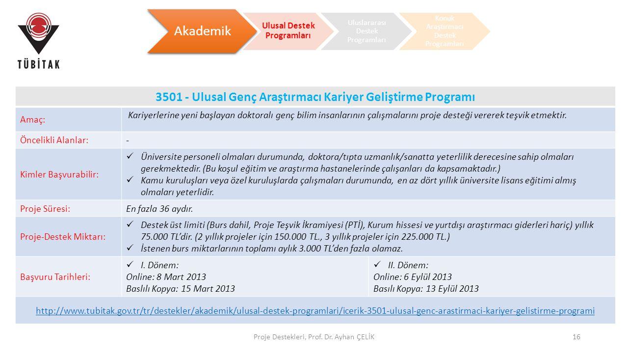 Proje Destekleri, Prof. Dr. Ayhan ÇELİK16 Akademik Ulusal Destek Programları Uluslararası Destek Programları Konuk Araştırmacı Destek Programları 3501