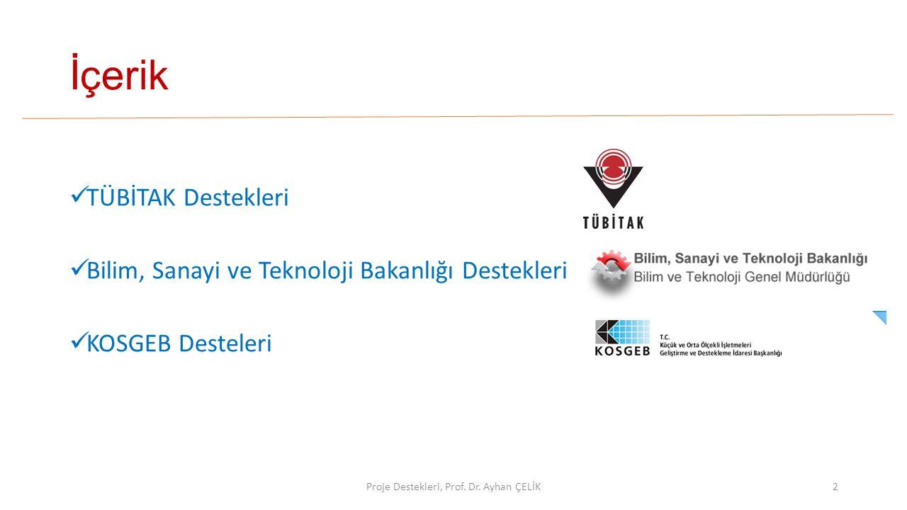 İçerik  TÜBİTAK Destekleri  Bilim, Sanayi ve Teknoloji Bakanlığı Destekleri  KOSGEB Desteleri Proje Destekleri, Prof. Dr. Ayhan ÇELİK2