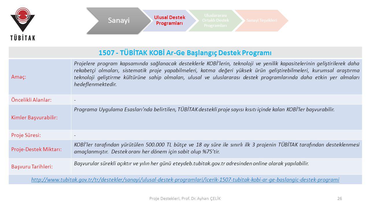 Proje Destekleri, Prof. Dr. Ayhan ÇELİK26 1507 - TÜBİTAK KOBİ Ar-Ge Başlangıç Destek Programı Amaç: Projelere program kapsamında sağlanacak desteklerl