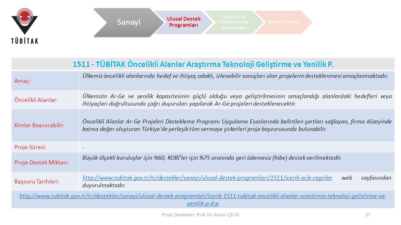 Proje Destekleri, Prof. Dr. Ayhan ÇELİK27 1511 - TÜBİTAK Öncelikli Alanlar Araştırma Teknoloji Geliştirme ve Yenilik P. Amaç: Ülkemiz öncelikli alanla