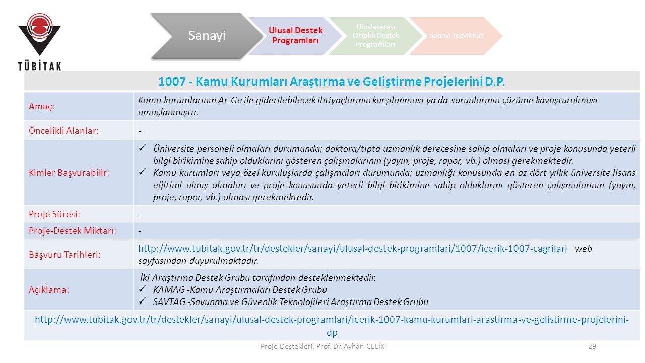 Proje Destekleri, Prof. Dr. Ayhan ÇELİK29 1007 - Kamu Kurumları Araştırma ve Geliştirme Projelerini D.P. Amaç: Kamu kurumlarının Ar-Ge ile giderilebil