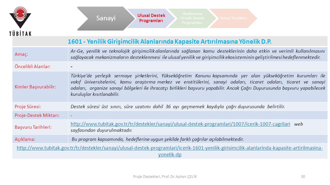 Proje Destekleri, Prof. Dr. Ayhan ÇELİK30 1601 - Yenilik Girişimcilik Alanlarında Kapasite Artırılmasına Yönelik D.P. Amaç: Ar-Ge, yenilik ve teknoloj