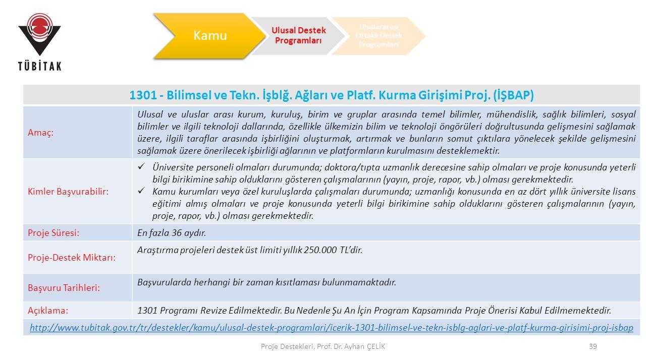Proje Destekleri, Prof. Dr. Ayhan ÇELİK39 1301 - Bilimsel ve Tekn. İşblğ. Ağları ve Platf. Kurma Girişimi Proj. (İŞBAP) Amaç: Ulusal ve uluslar arası