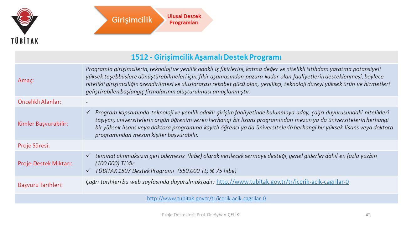 Proje Destekleri, Prof. Dr. Ayhan ÇELİK42 Girişimcilik Ulusal Destek Programları 1512 - Girişimcilik Aşamalı Destek Programı Amaç: Programla girişimci