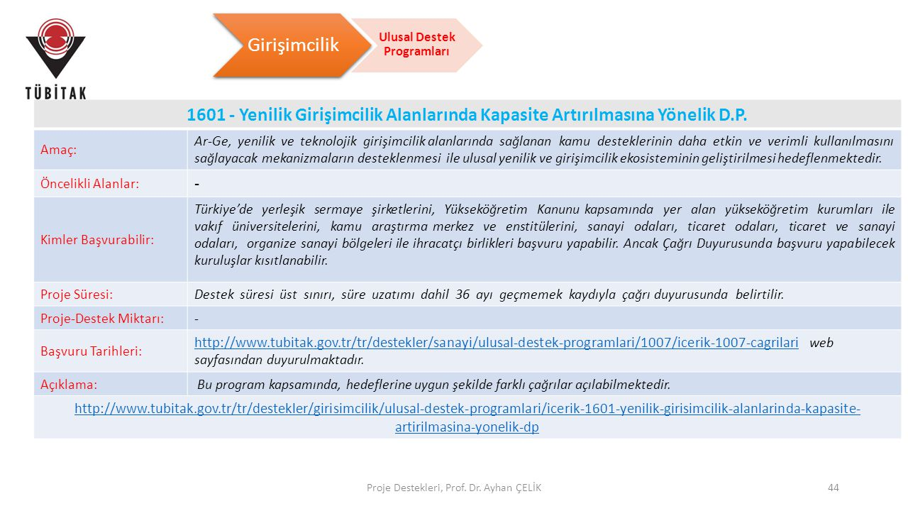 Proje Destekleri, Prof. Dr. Ayhan ÇELİK44 1601 - Yenilik Girişimcilik Alanlarında Kapasite Artırılmasına Yönelik D.P. Amaç: Ar-Ge, yenilik ve teknoloj