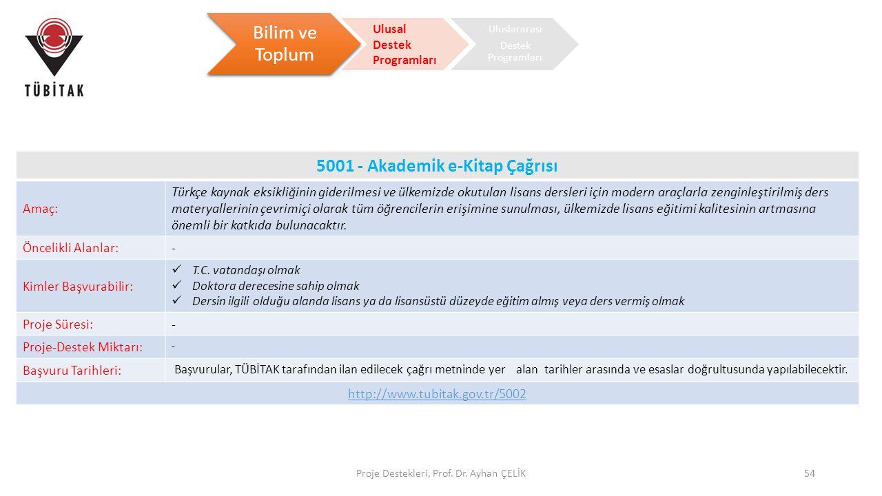 Proje Destekleri, Prof. Dr. Ayhan ÇELİK54 Bilim ve Toplum Ulusal Destek Programları Uluslararası Destek Programları 5001 - Akademik e-Kitap Çağrısı Am