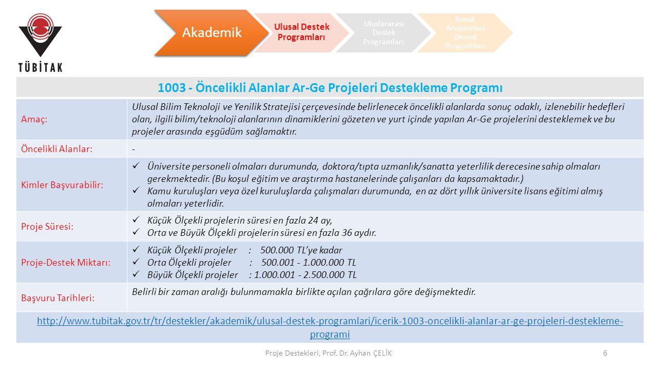 Proje Destekleri, Prof. Dr. Ayhan ÇELİK6 Akademik Ulusal Destek Programları Uluslararası Destek Programları Konuk Araştırmacı Destek Programları 1003