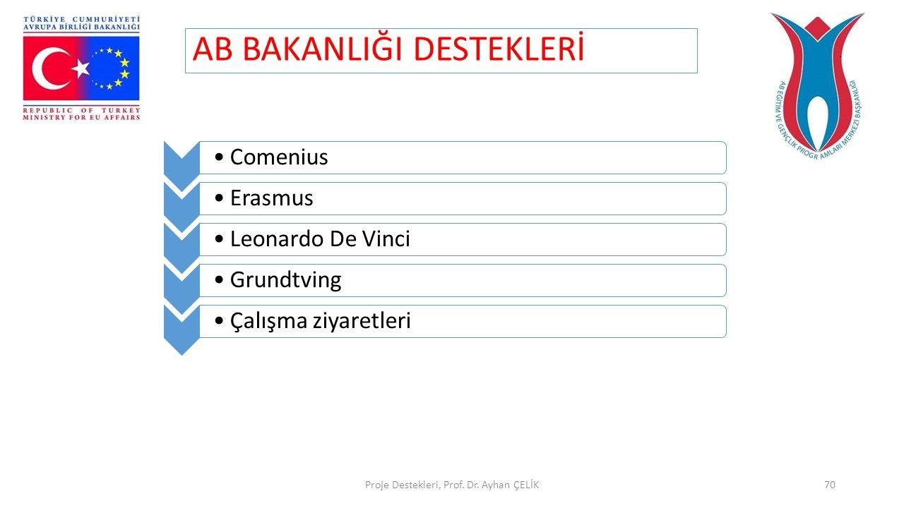 AB BAKANLIĞI DESTEKLERİ Proje Destekleri, Prof. Dr. Ayhan ÇELİK70 •Comenius•Erasmus•Leonardo De Vinci•Grundtving•Çalışma ziyaretleri