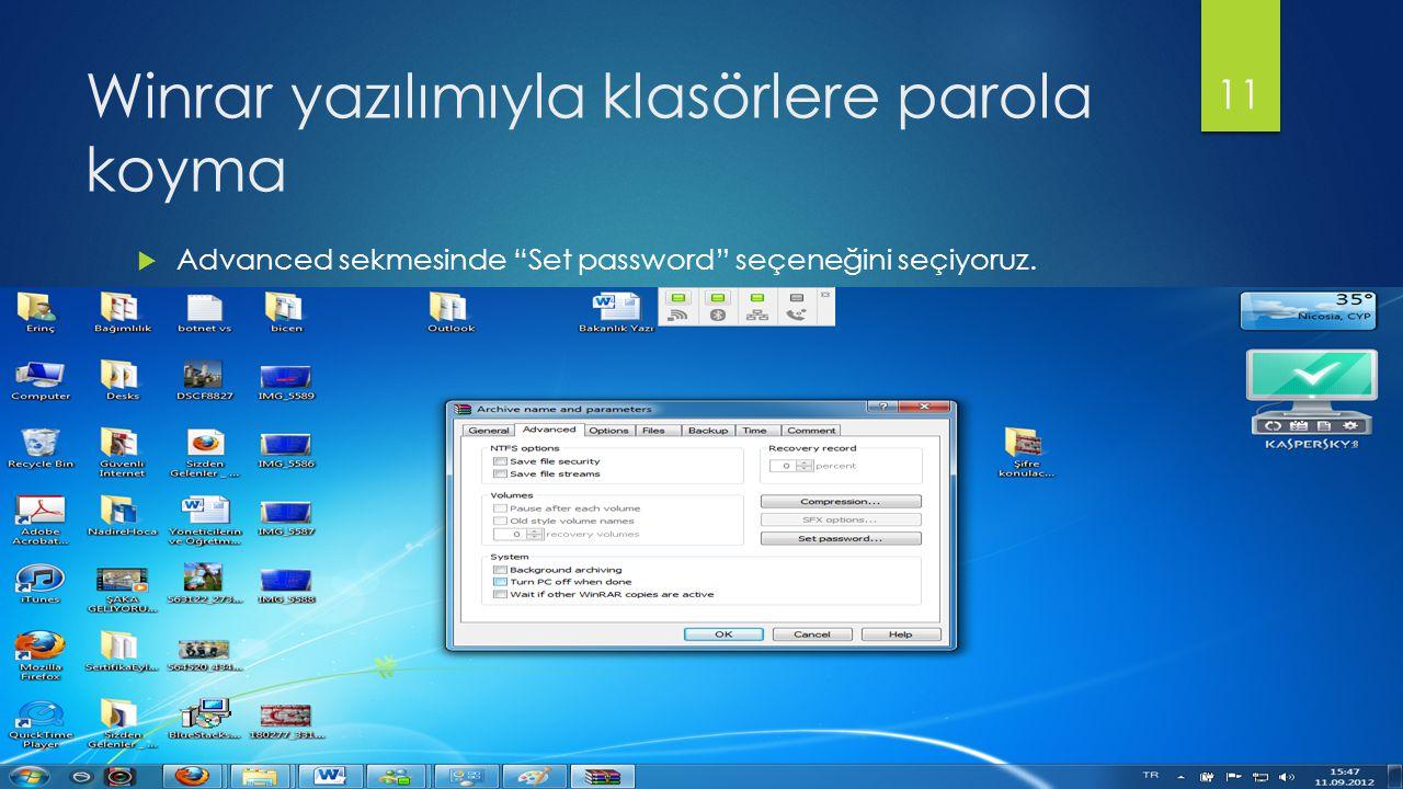 Winrar yazılımıyla klasörlere parola koyma  Advanced sekmesinde Set password seçeneğini seçiyoruz.