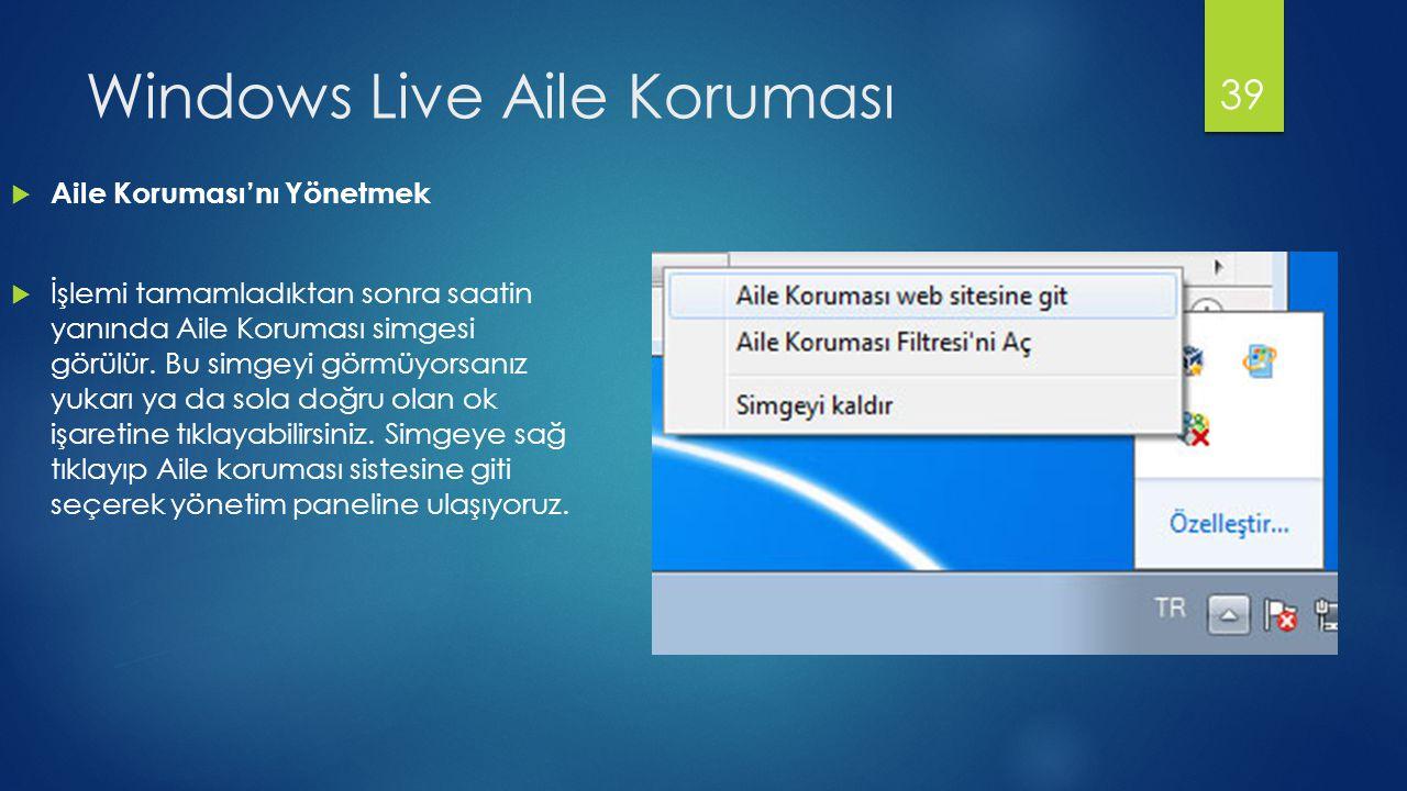 Windows Live Aile Koruması  Aile Koruması'nı Yönetmek  İşlemi tamamladıktan sonra saatin yanında Aile Koruması simgesi görülür. Bu simgeyi görmüyors
