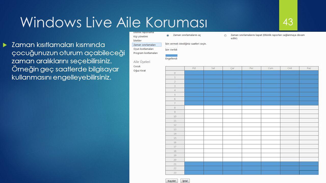 Windows Live Aile Koruması  Zaman kısıtlamaları kısmında çocuğunuzun oturum açabileceği zaman aralıklarını seçebilirsiniz. Örneğin geç saatlerde bilg